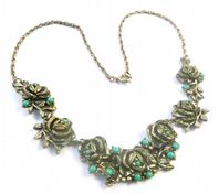 Vintage Faux Turquoise Rose Flower Panel Necklace By Miracle.